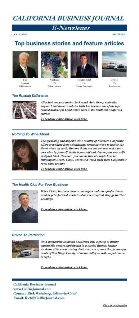 CBJ Newsletter Winter 2014