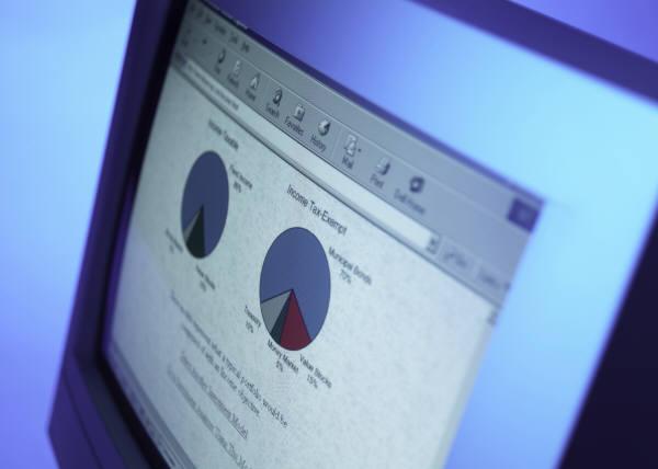 business chart on computer screen