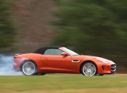 2014-red Jaguar-F-Type-ATD-burnout