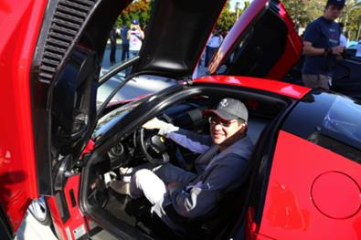 David Lee, one of Southern California's most famous Ferrari collectors, in his $3 million Ferrari Enzo.