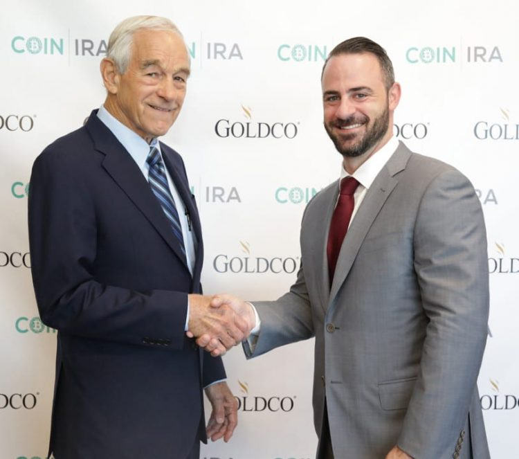 CEO Trevor Gerszt with Former Presidential Candidate and current Goldco CoinIRA Brand Ambassador Dr. Ron Paul at the recent grand opening of Goldco's n - GOLD STANDARD