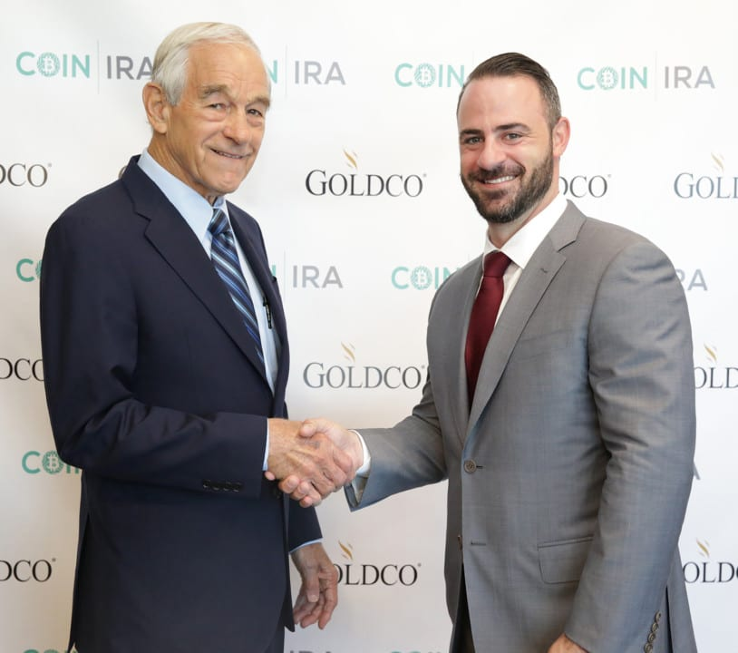 CEO Trevor Gerszt with Former Presidential Candidate and current Goldco & CoinIRA Brand Ambassador Dr. Ron Paul at the recent grand opening of Goldco's n
