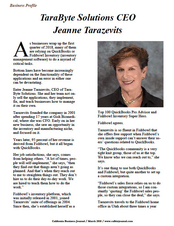screen 2 - Business Profile: TaraByte Solutions CEO Jeanne Tarazevits
