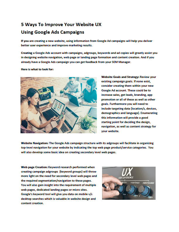 max kewal pdf - 5 Ways To Improve Your Website UX Using Google Ads Campaigns