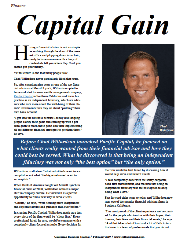 Chad Willardson, Pacific Capital, wealth/financial advisor, California Business Journal