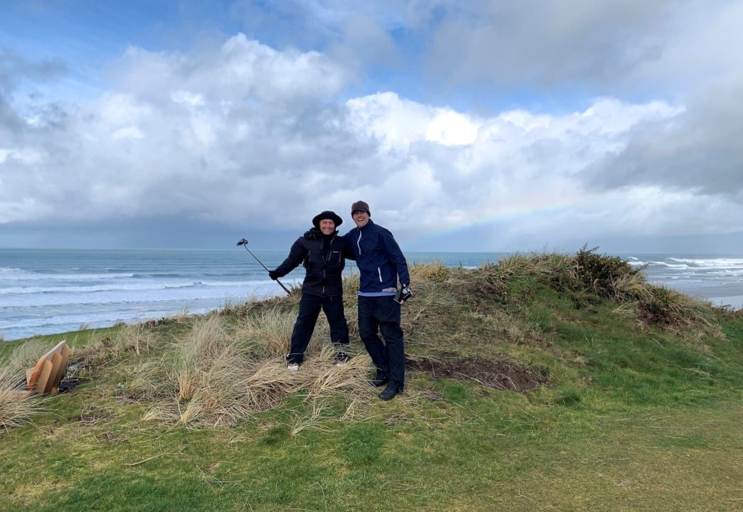 Joshua Denne and Patrick Shaw, CEO of Rapid Funnel, playing at the Brandon Dunes course in Oregon.