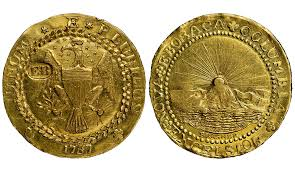 Brasher Doubloon a 16 gold coin privately minted by Ephraim Brasher in 1787 - TREASURE HUNT