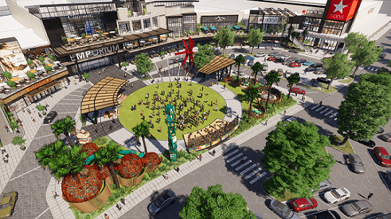 An expansive transformation at MainPlace Mall in Santa Ana, California, will create an interactive, engaging outdoor park-like experience as visitors arrive at and enter the shopping center.