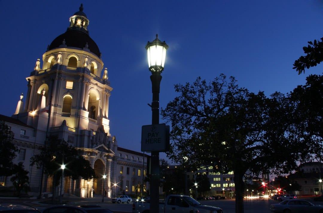 Pasadena City Hall illuminated. Photo courtesy LEDtronics