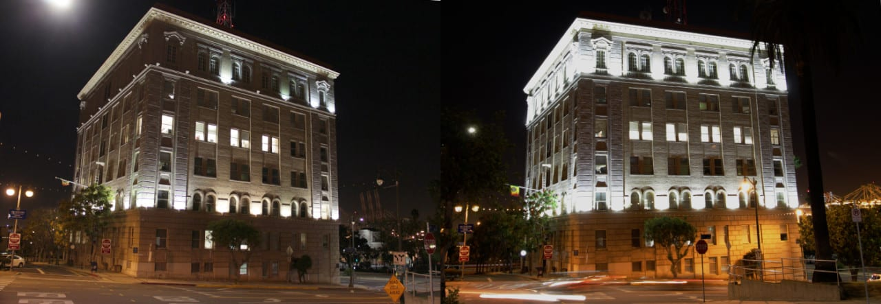 Before and after: San Pedro City Hall with high-intensity discharge lamps (left) and modern energy-saving brilliant white LED lights (right). Photo courtesy LEDtronics
