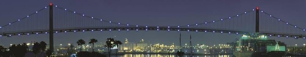 80 LED units affixed to the apex of the Vincent Thomas Bridge. Photo courtesy LEDtronics.