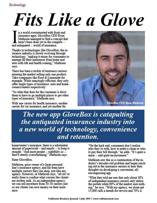 GloveBox is catapulting the antiquated insurance industry into a new world of technology, convenience and retention.
