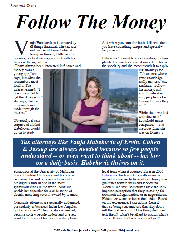 California Business Journal article on Vanja Habekovic