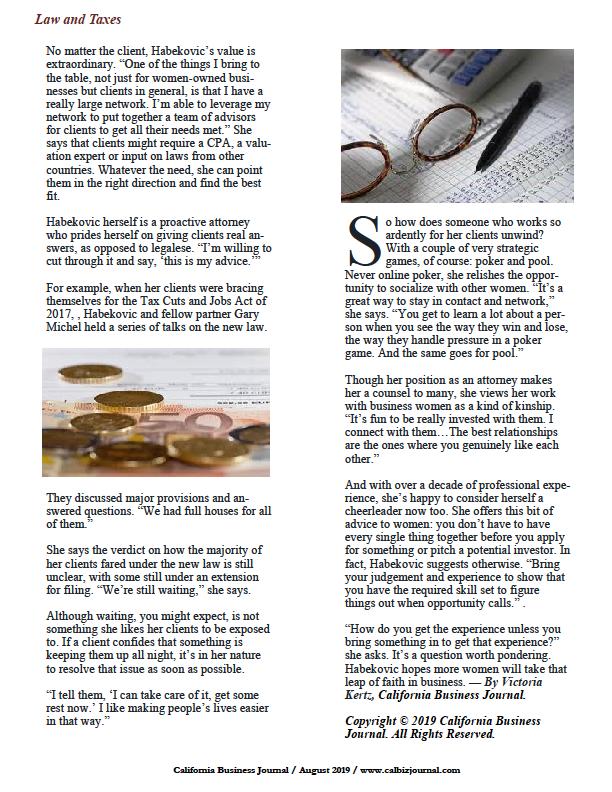 California Business Journal article on Vanja Habekovic
