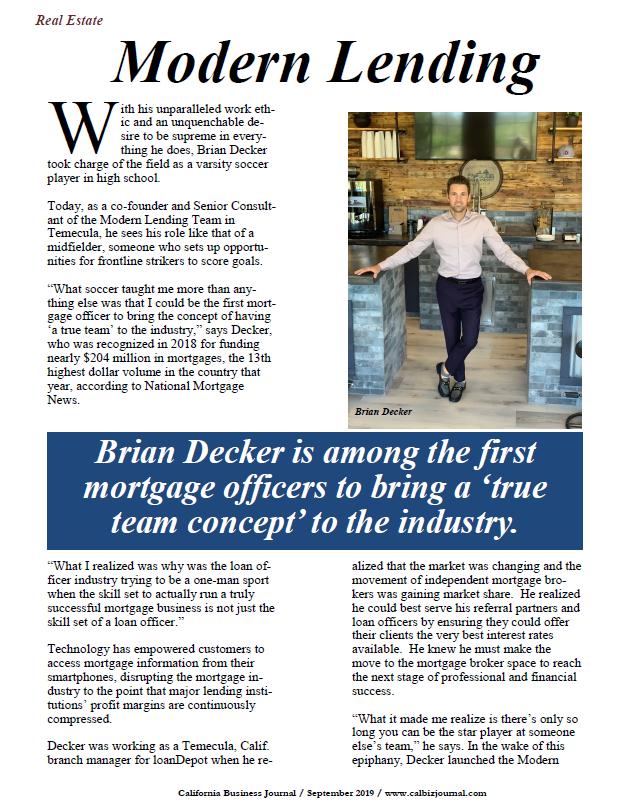 Brian Decker, Modern Lending
