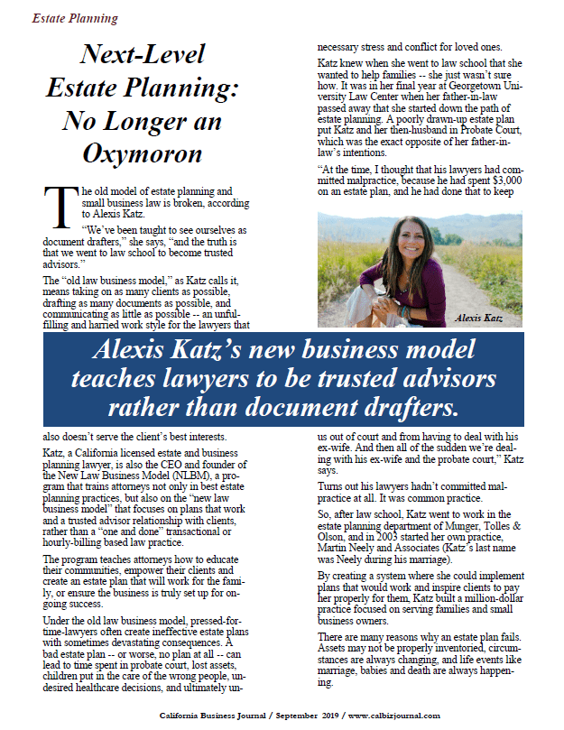 Alexis Katz, New Law Business Model