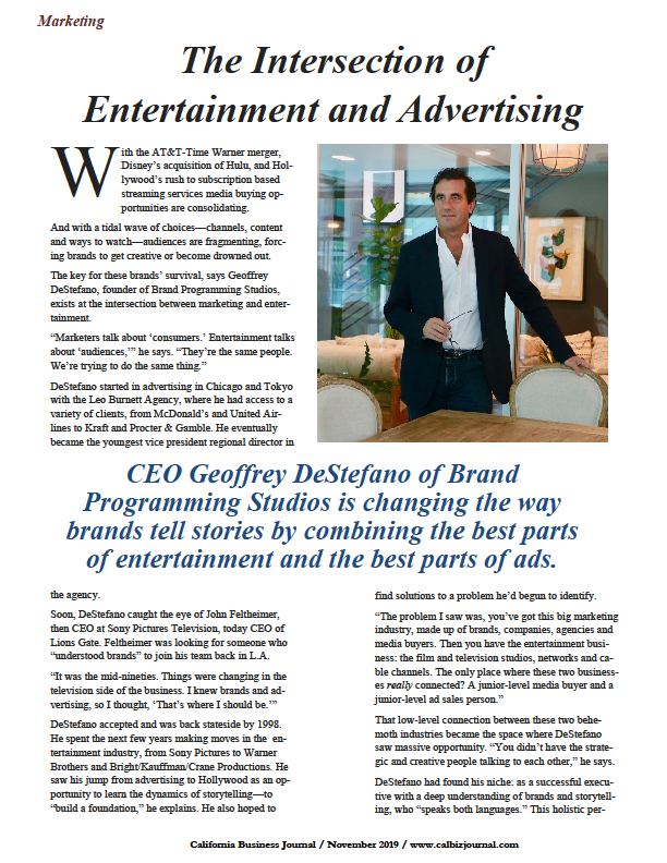 CEO Geoffrey DeStefano of Brand Programming Studios