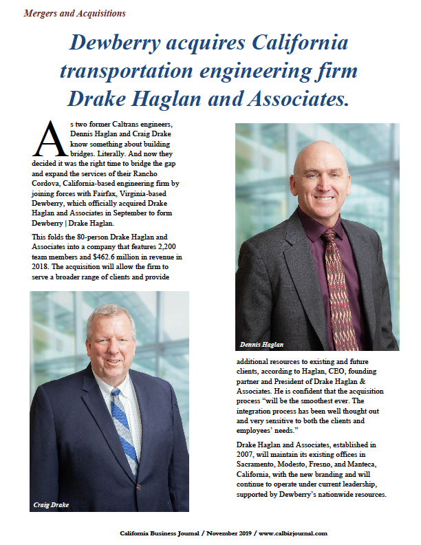 s1 4 - Dewberry acquires California transportation engineering firm Drake Haglan and Associates