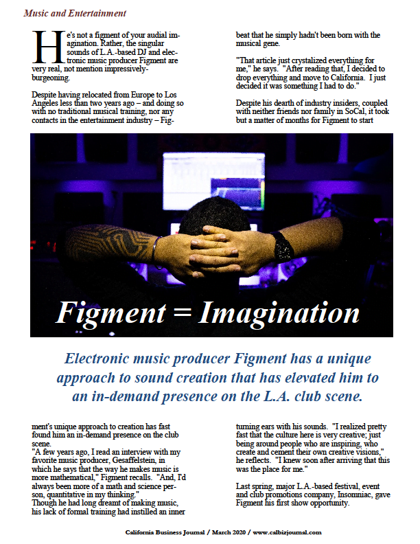 https://calbizjournal.com / Electronic music producer Figment