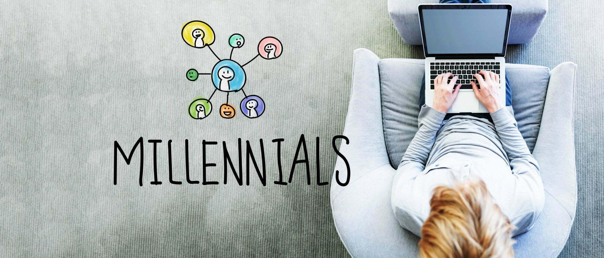 Millennials text with man using a laptop
