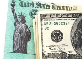 Treasury tax check with cash.