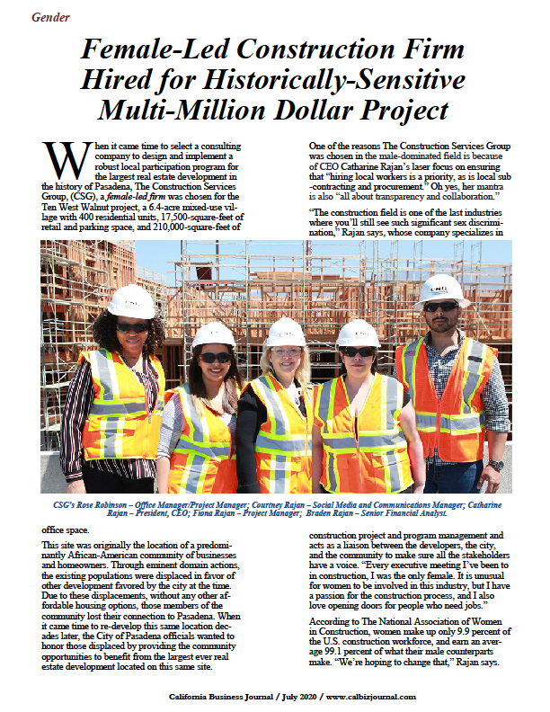 Female-led Construction Services Group , Ten West Walnut project in Pasadena