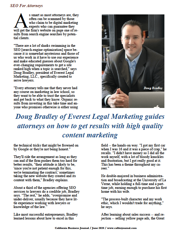 Doug Bradley of Everest Legal Marketing Guides Attorneys on Impactful Content Marketing/www.calbizjournal.com