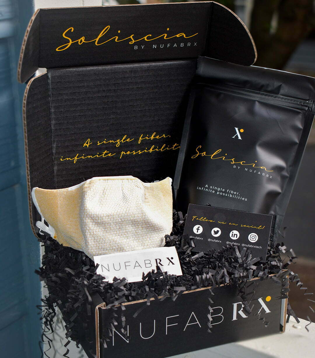 Soliscia by - Nufabrx CEO Jordan Schindler's anti-microbial, Shea-butter infused masks are such a hit that the Federal Government sent three Blackhawk helicopters to Schindler's facility to pick up a quarter-million masks.