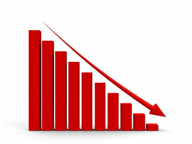 Red business graph with red arrow down, three-dimensional rendering
