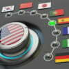 Online translator technology concept, multi-language web or app interface, switch knob language selector with flags of the world countries
