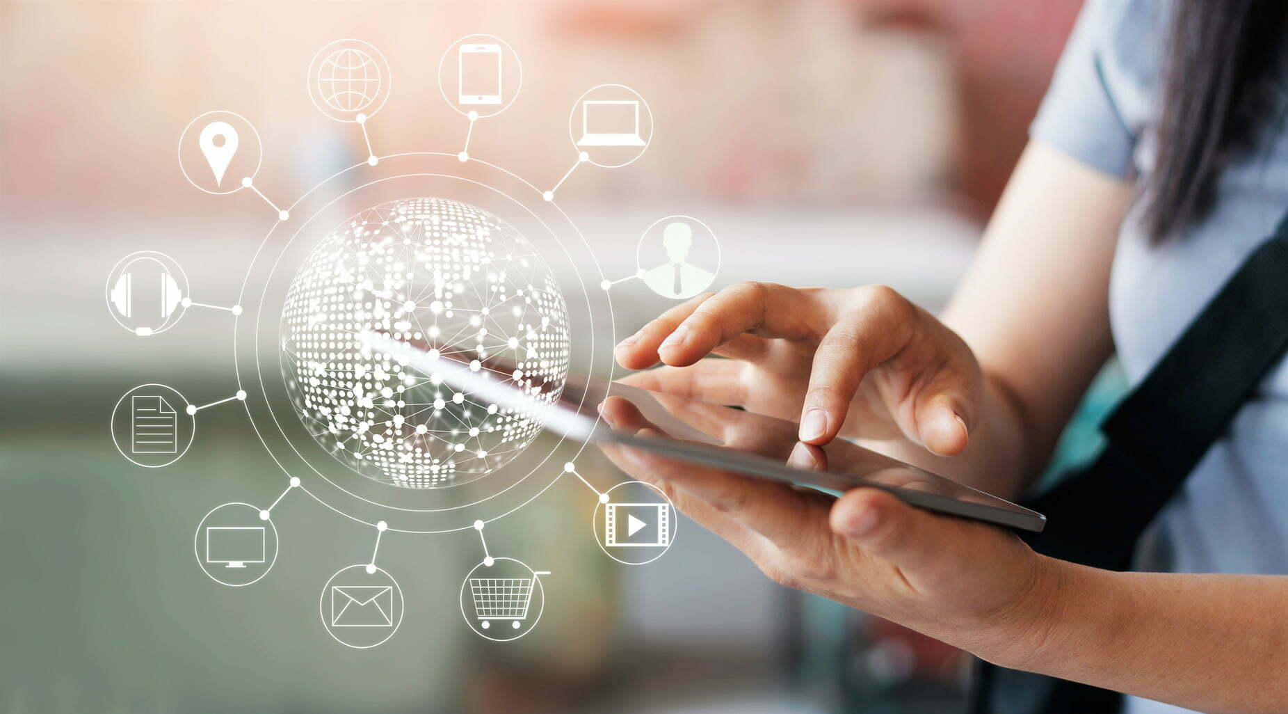 woman using mobile payments online shopping and icon customer network connection on screen m banking and omni channel - California Mutual Partners with Invoice Cloud to Improve Insurer's Efficiency and Simplify Process for Policyholders