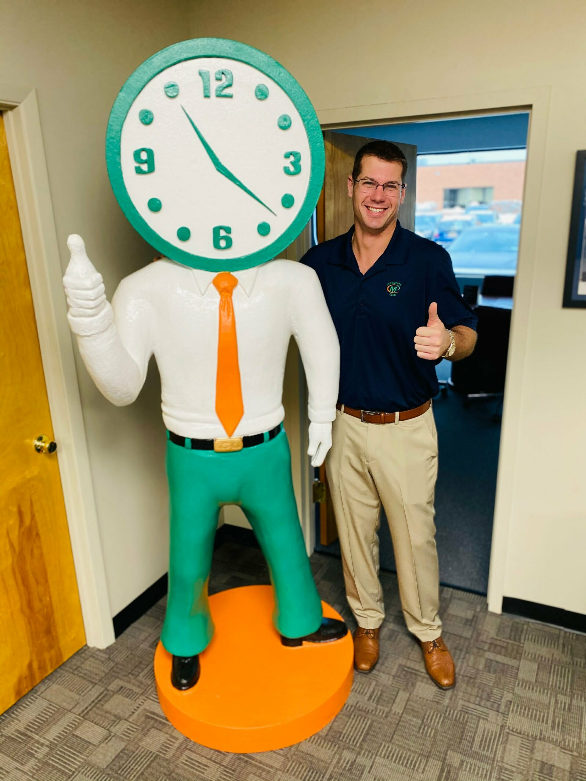 Nick Titus with Giant Minute Man in Farmingdale NY