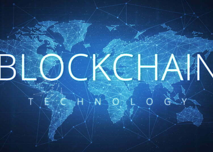 Blockchain technology wording on futuristic hud background with