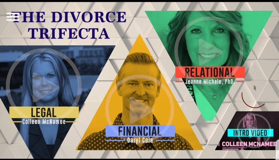 Divorce Recovery Experts Colleen McNamee, Dr. Jeanne Michele and Daryl Cole, CFP® deploy compassion and strong communication tools to assist the two parties that are often in the least-compatible phase in their relationship. However, they need to come to agreements on multiple sensitive issues, such as custody, sharing schedules, sale of a house, and dividing other assets. Skills that might be used in couples therapy also apply to mediation and financial negotiations, lowering the temperature to help the parties have a successful resolution.