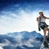 Woman climber on a Klettersteig (Via Ferrata)