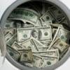 wash machine filled with money