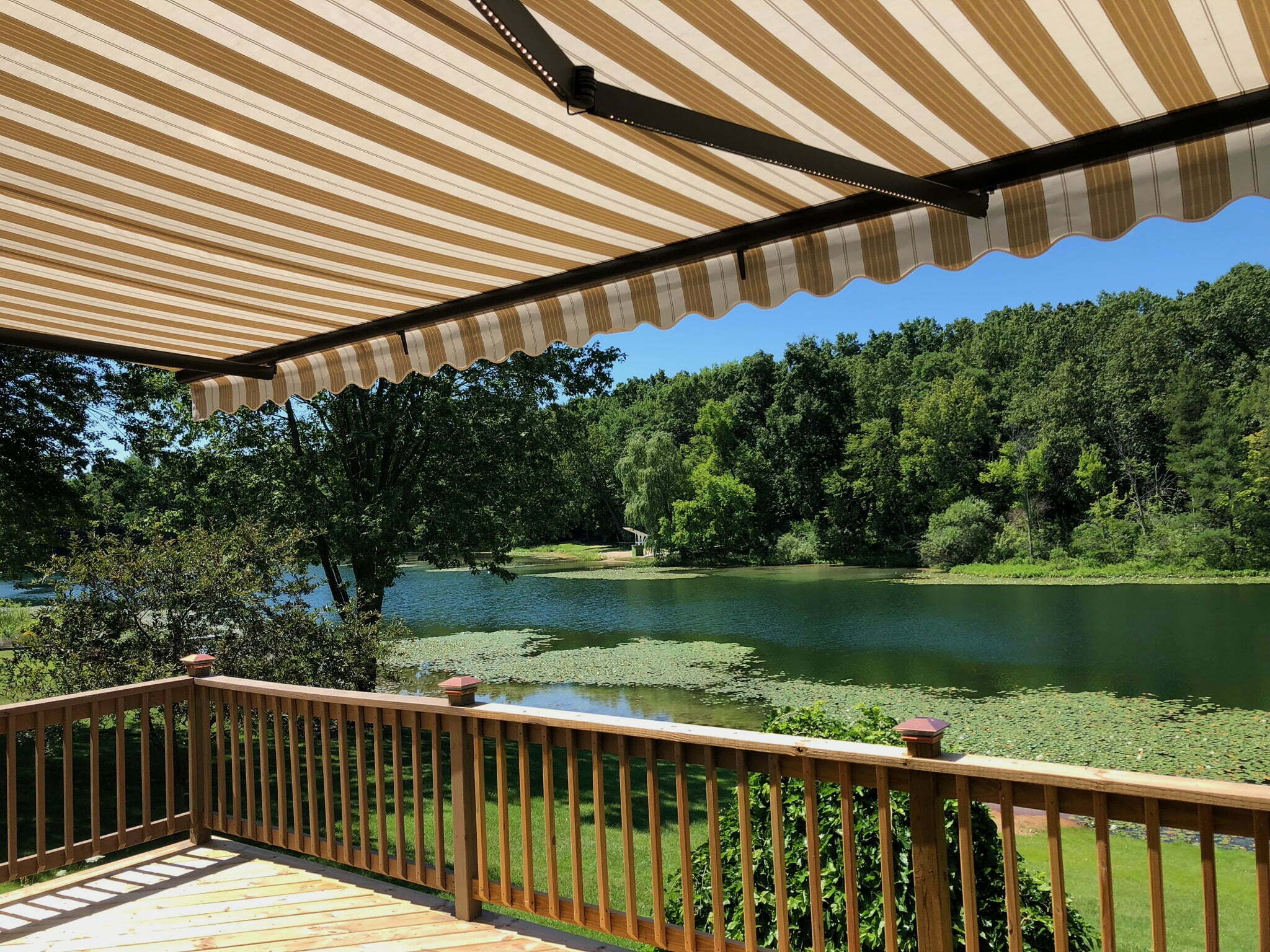 Country Club Awnings for Golf Club with water trap view