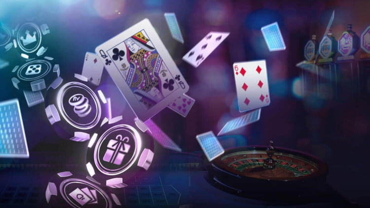 casino cards flipping in air