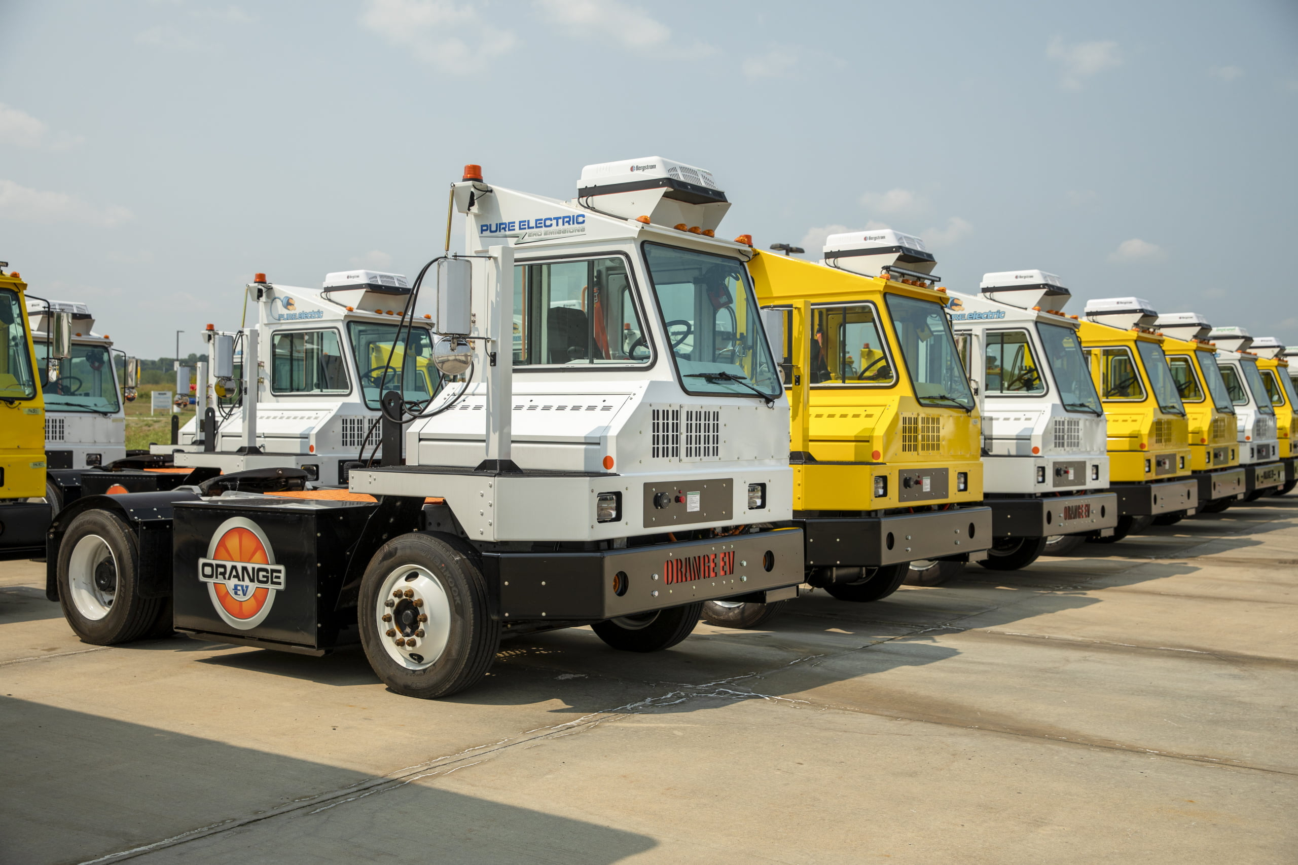 Orange EV trucks