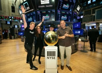 The Zevia Braintrust at the New York Stock Exchange: (L to R) Paddy Spence, CEO; Amy Taylor, President; Robert Gay, Chief Strategy Officer ; Hank Margolis, Chief Operating Officer